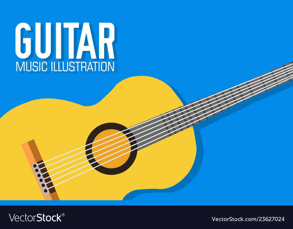 Flat guitar poster background concept