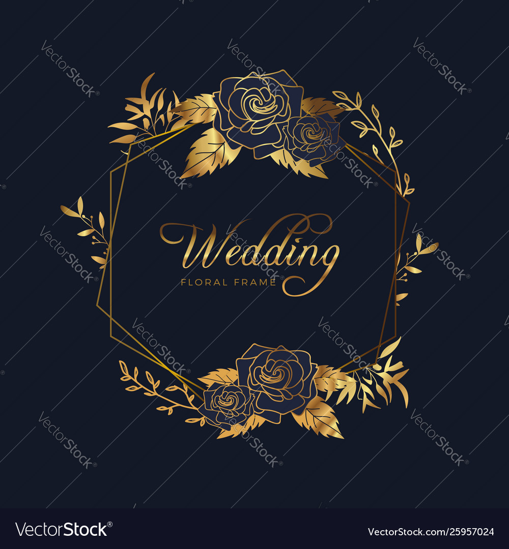 Golden floral frame wedding anniversary background