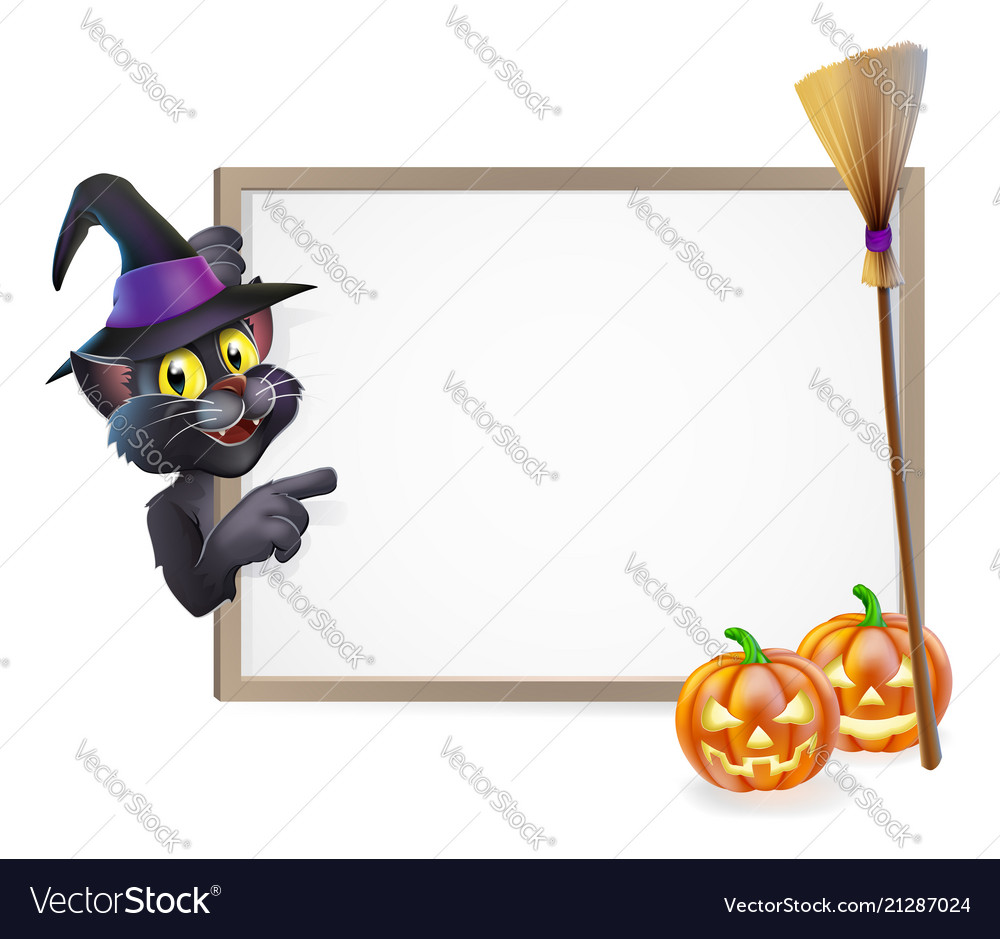 Halloween black cat sign