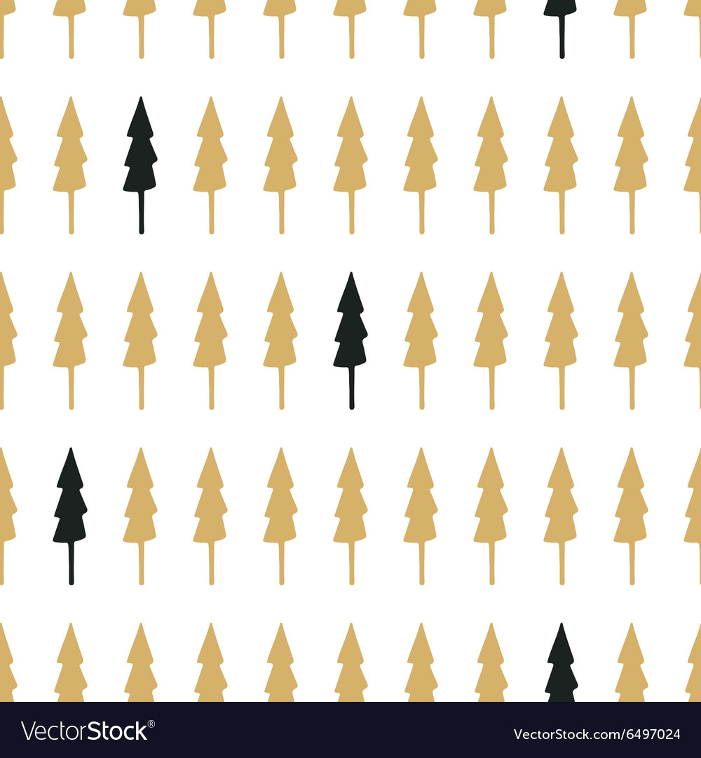 Hand drawn seamless pattern with Christmas trees