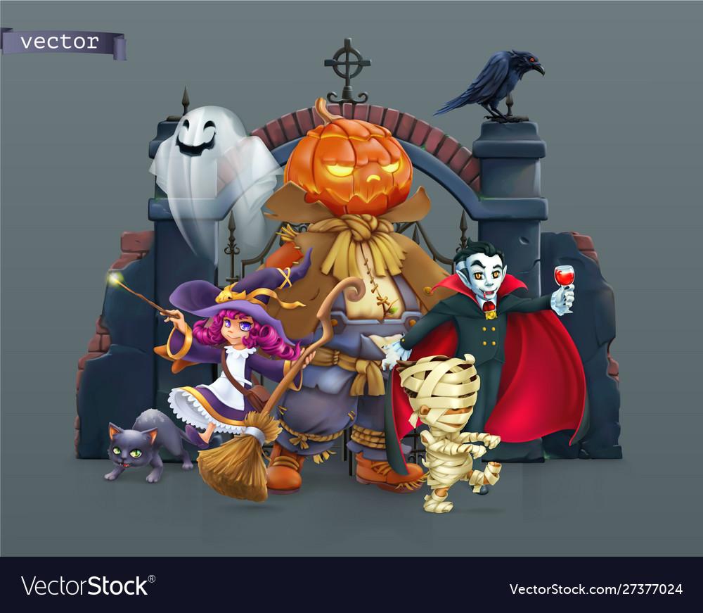 Happy halloween pumpkin scarecrow witch mummy