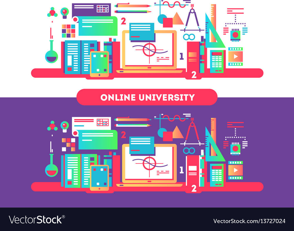 Online university design flat