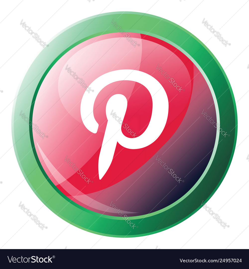 Pinterest logo button with green round circle