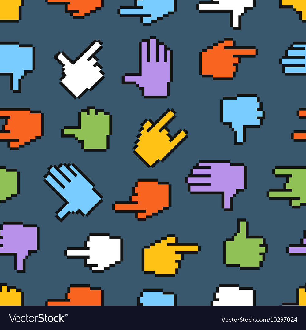 Pixel hand cursors seamless pattern vector image