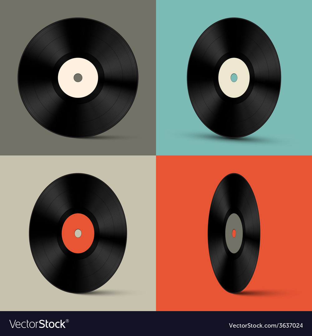 Retro Vinyl Records Set