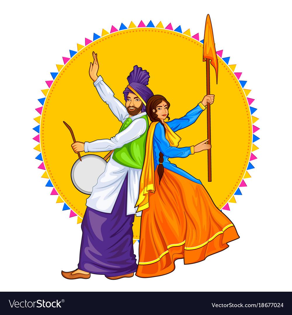 Sikh punjabi sardar couple playing dhol and
