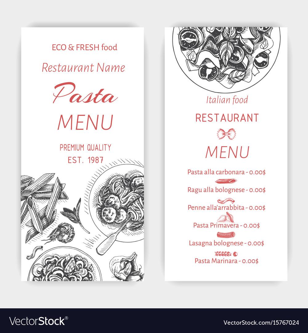 Sketch - pasta card menu