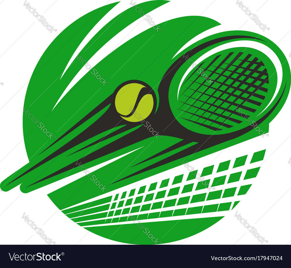 Tennis ball and racket sport team club icon