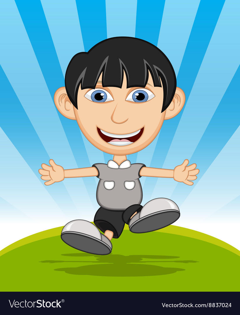 The boy running and laughing cartoon