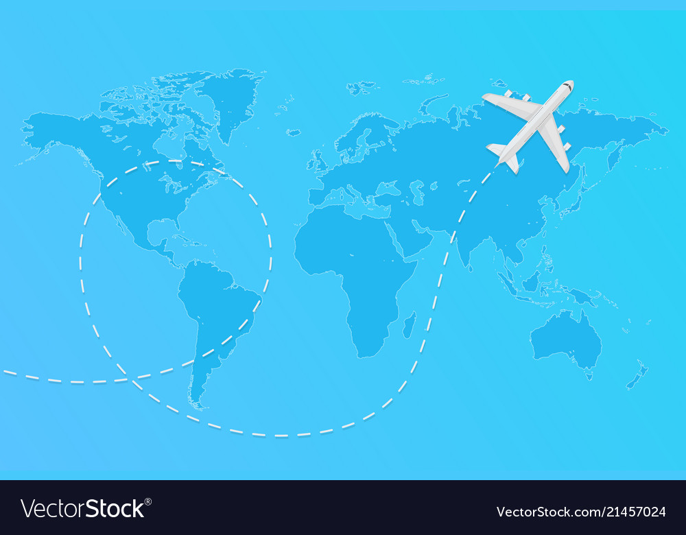 World map with flying airplane and dashed