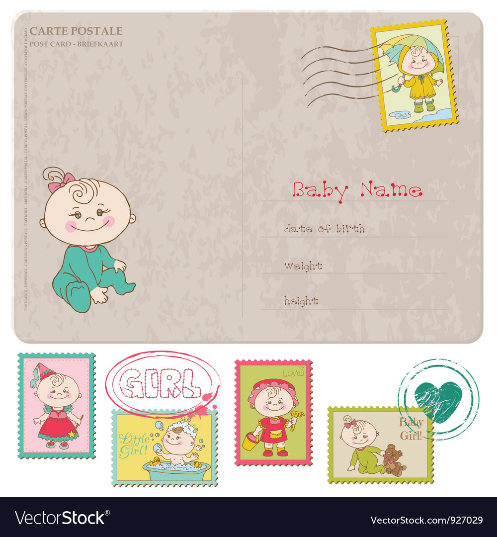 Baby Girl Greeting Postcard Royalty Free Vector Image