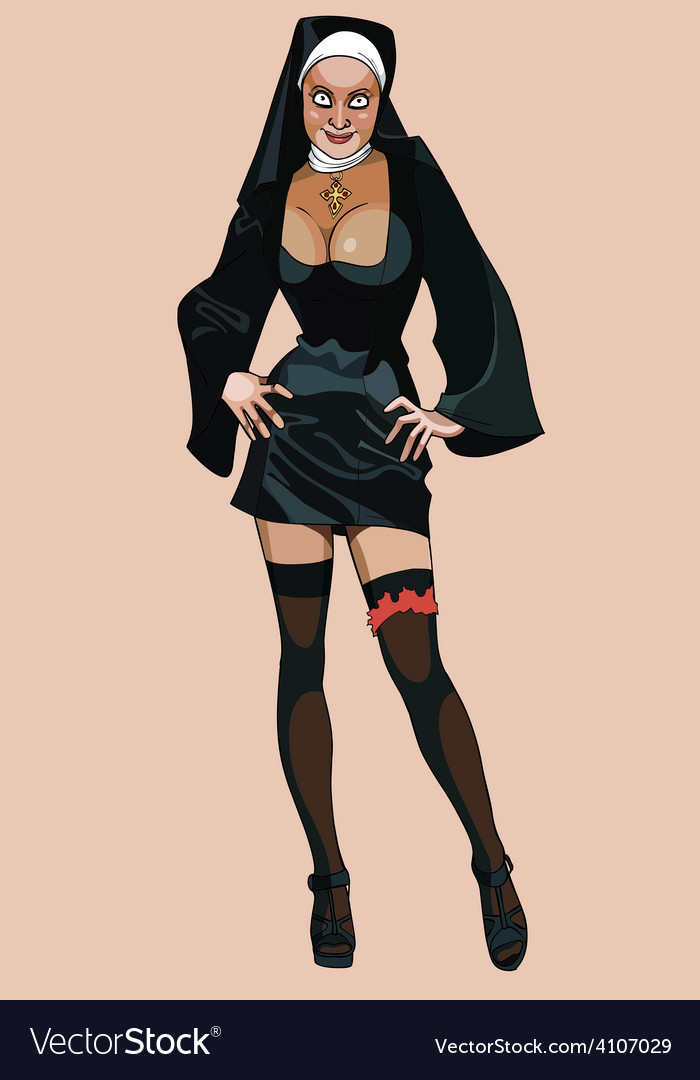 Cartoon sexy girl dressed as a nun vector image