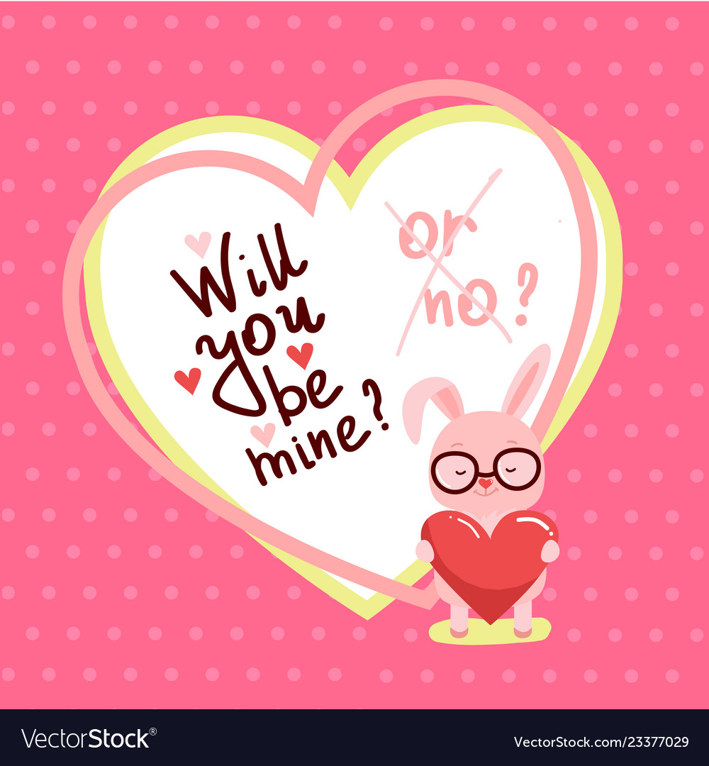 Cute valentines day card with bunny and