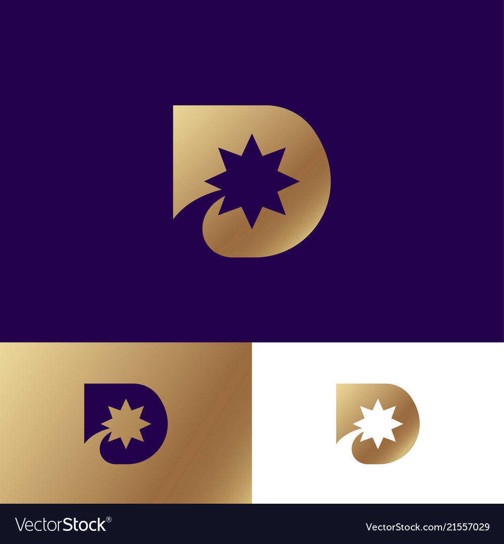 D Letter Monogram Star Identity Royalty Free Vector Image
