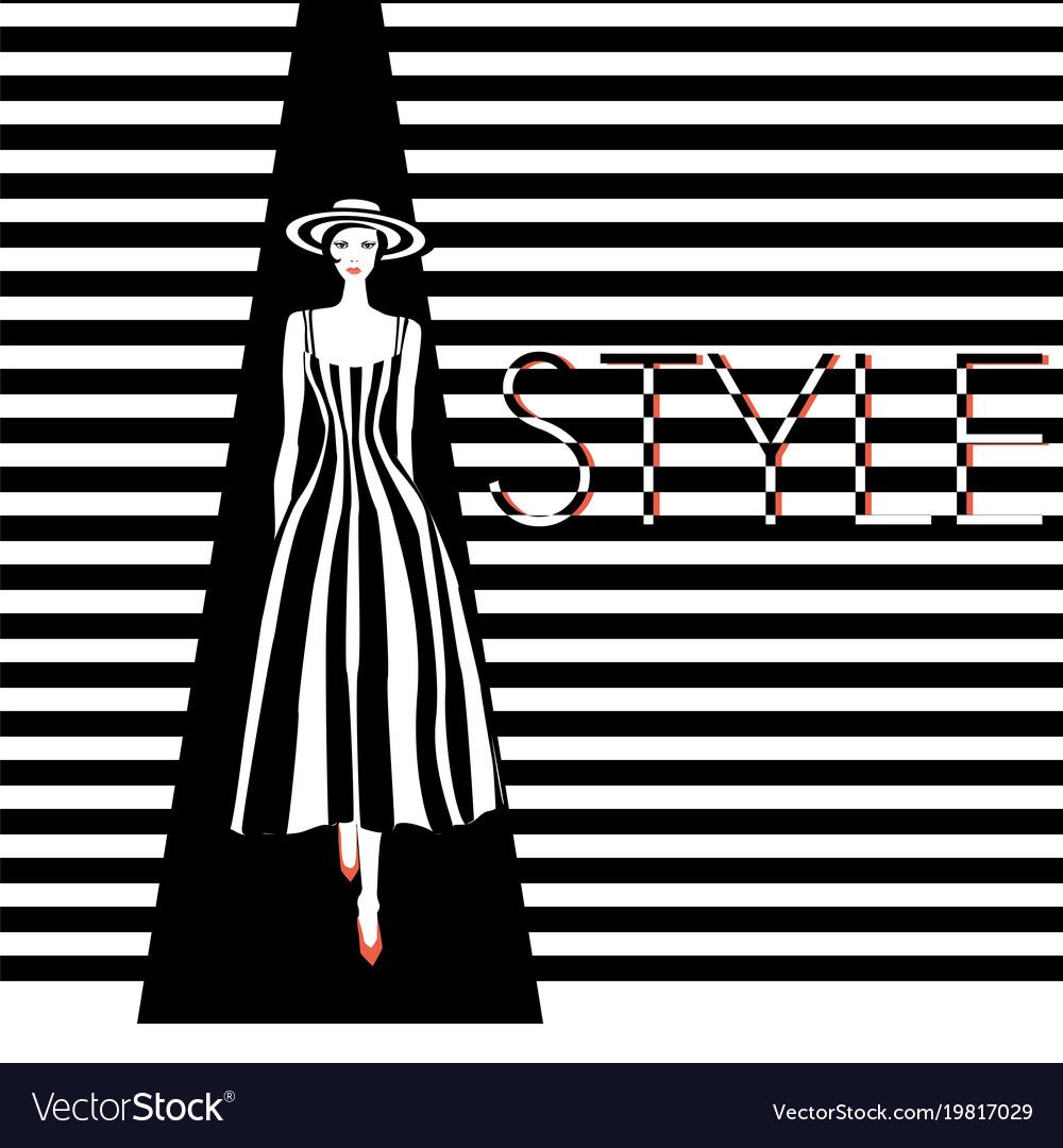Fashion model black and white stripes