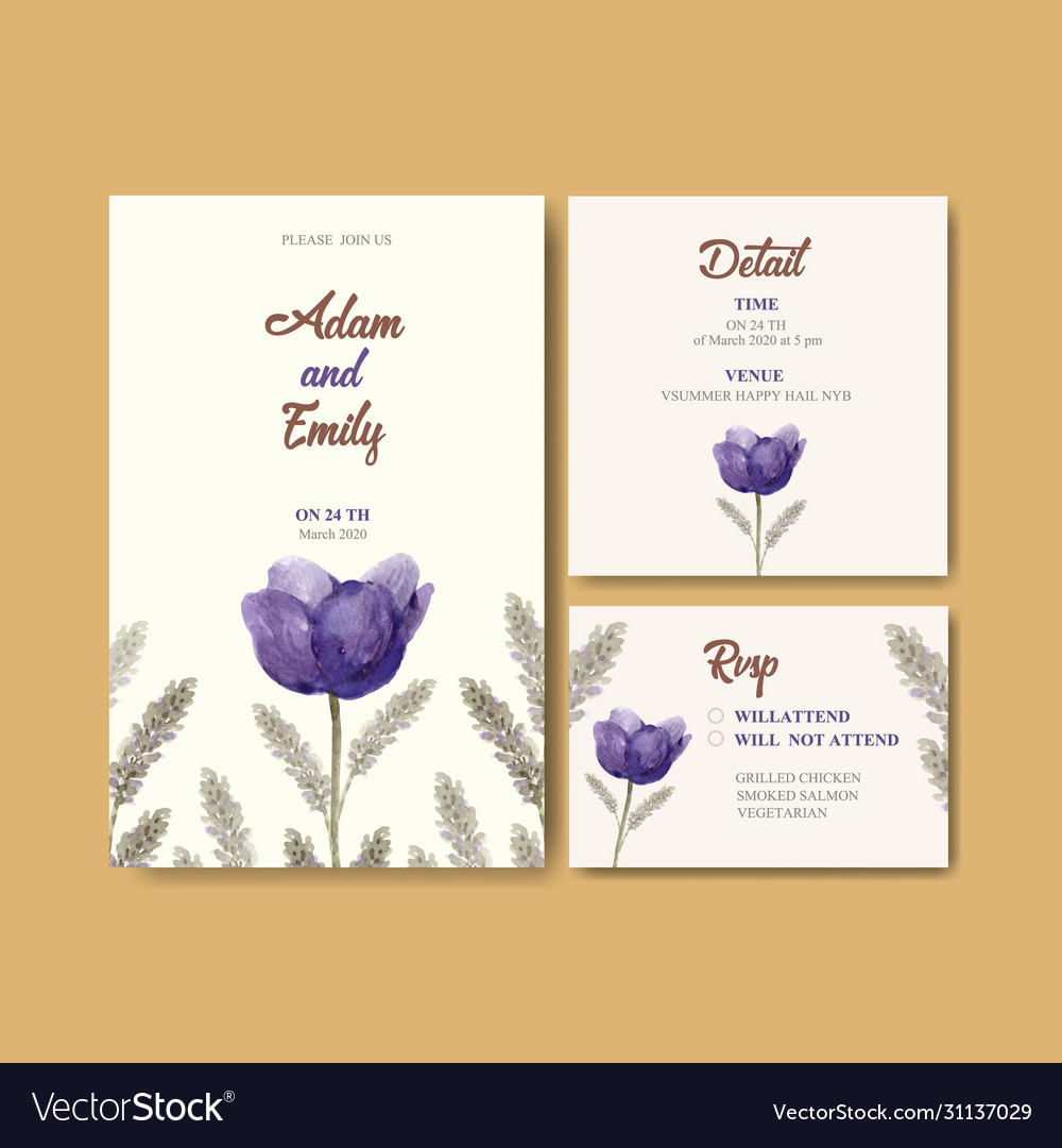 Floral wine wedding card design with tulip