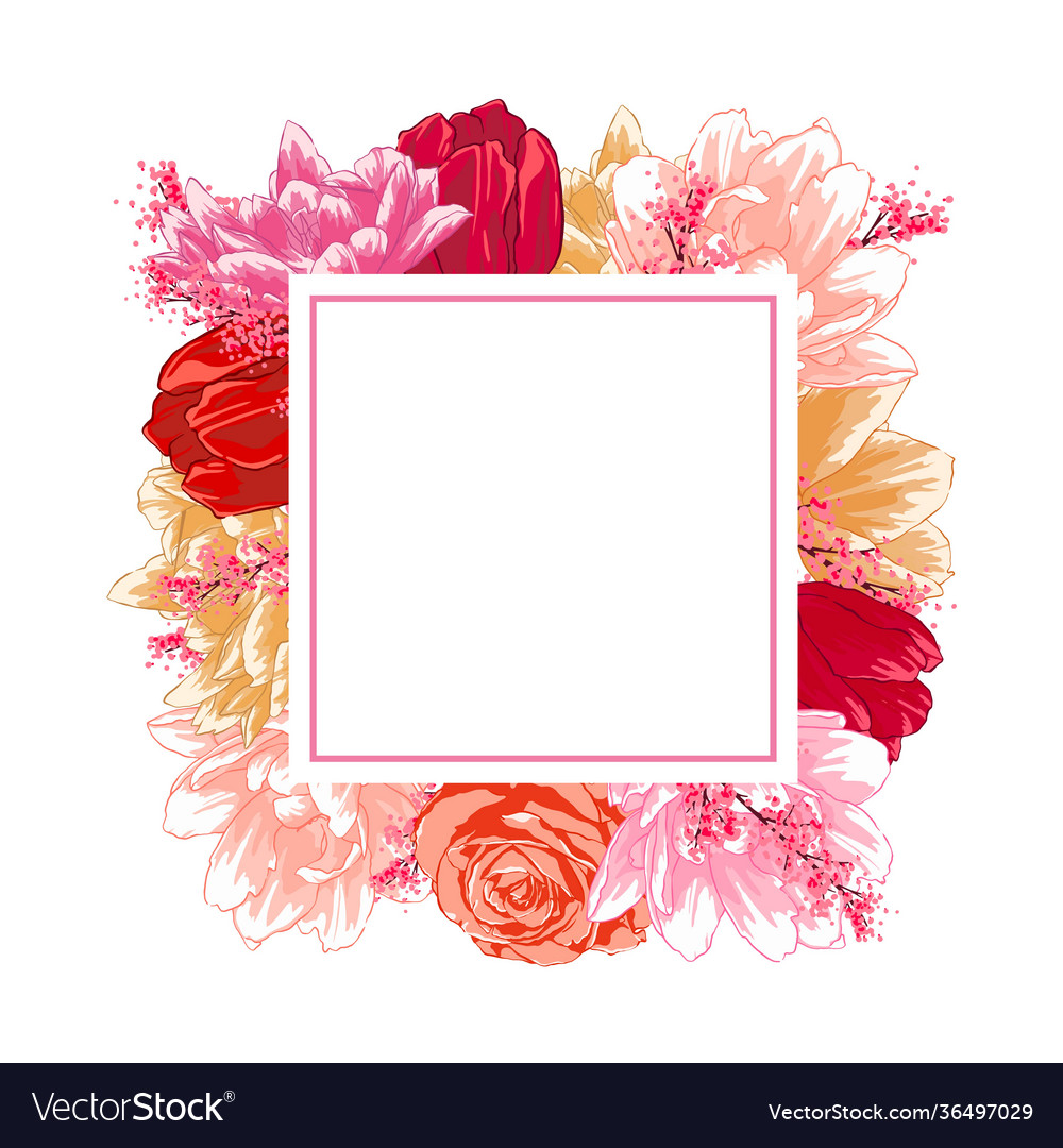Frame with flowers roses tulips colorful