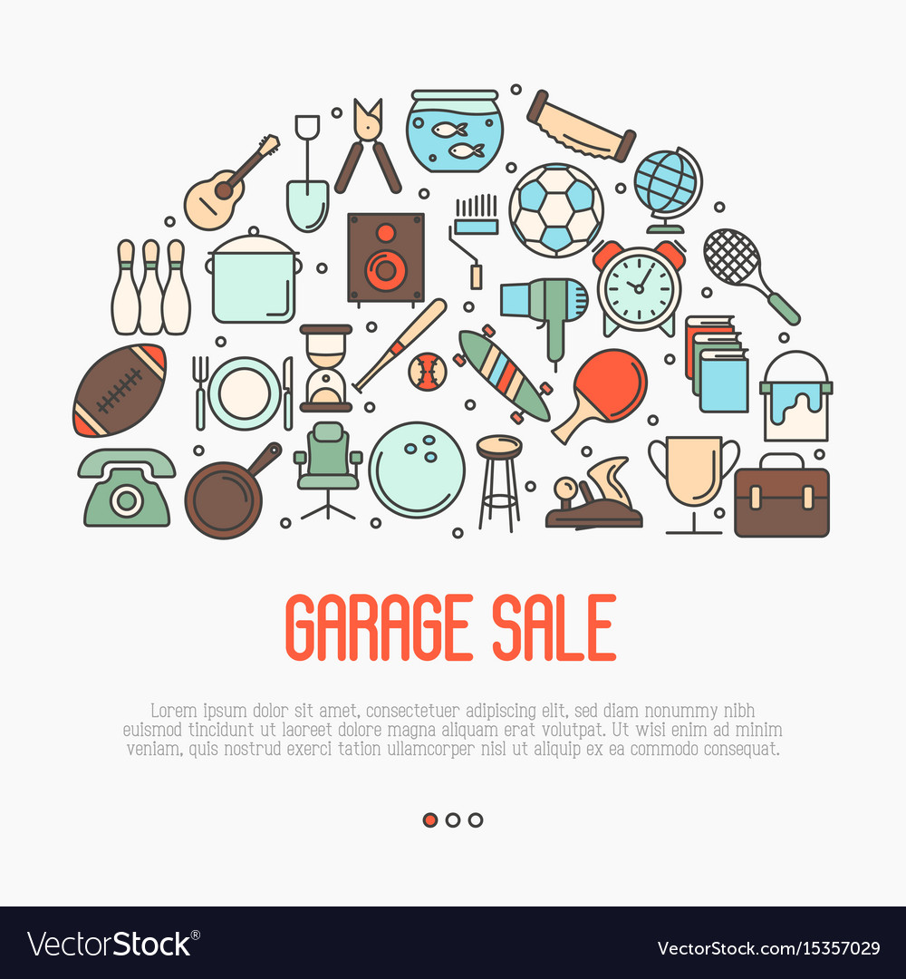 Garage sale or flea market concept Royalty Free Vector Image – How To Plan A Garage Sale