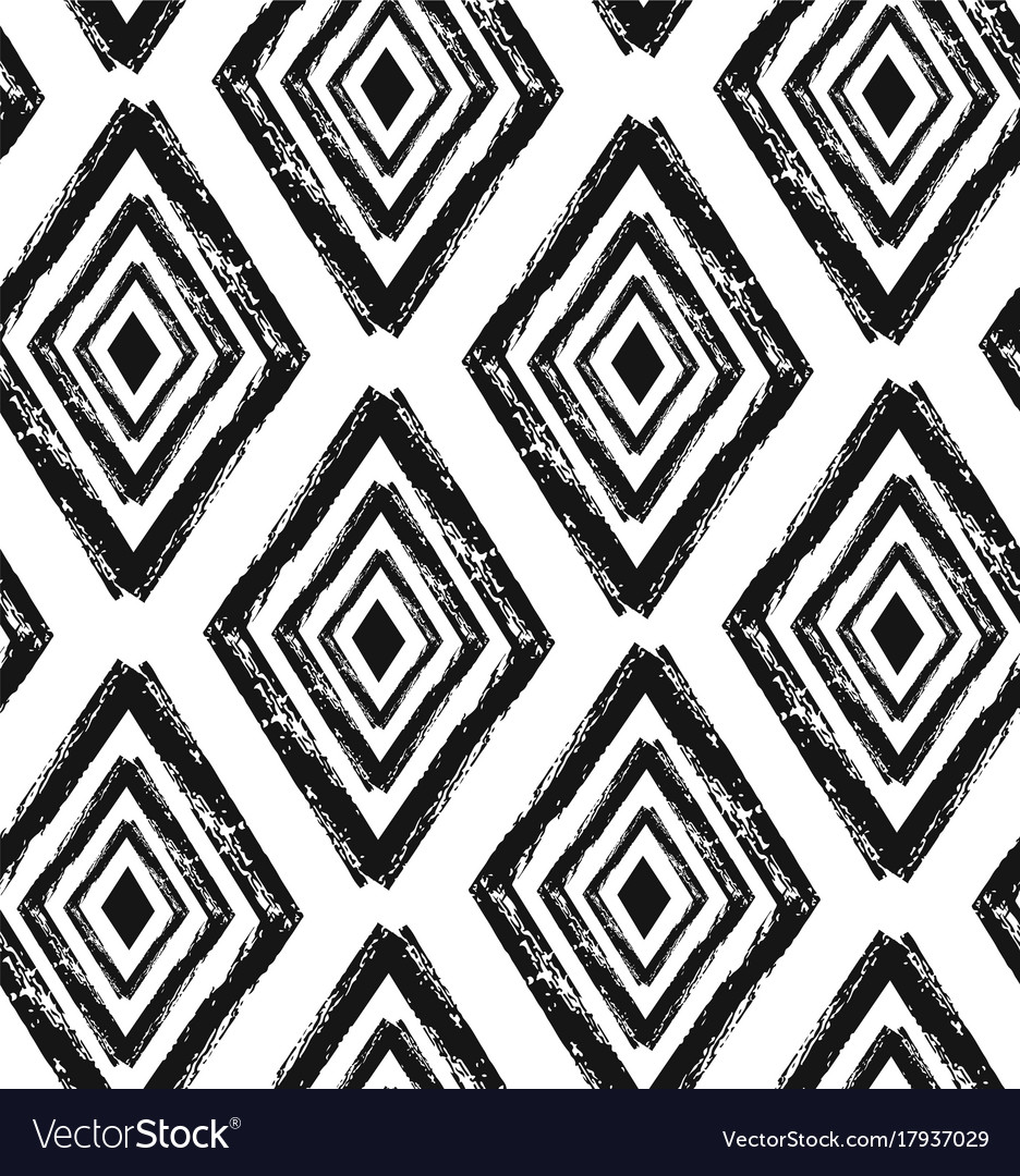 Hand drawn seamless diamond shapes pattern in