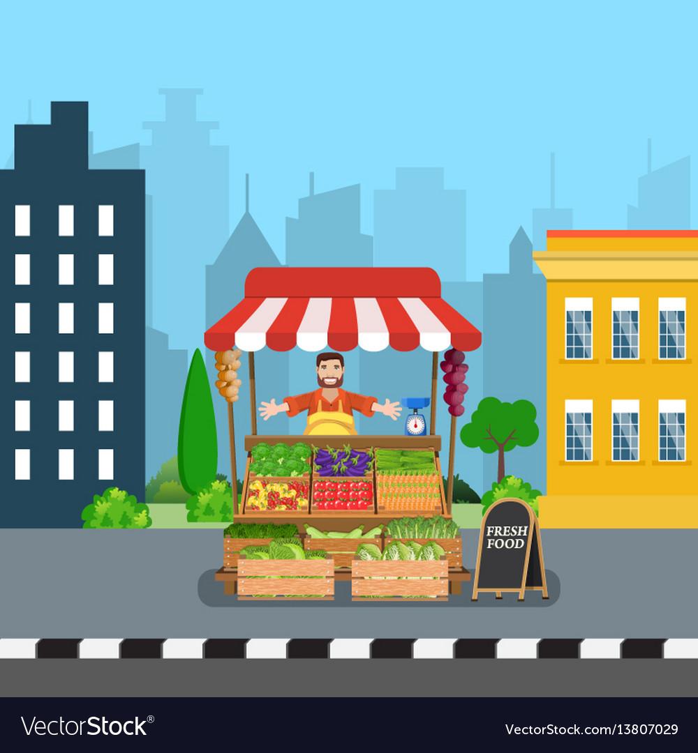 Male street vendor selling vegetables