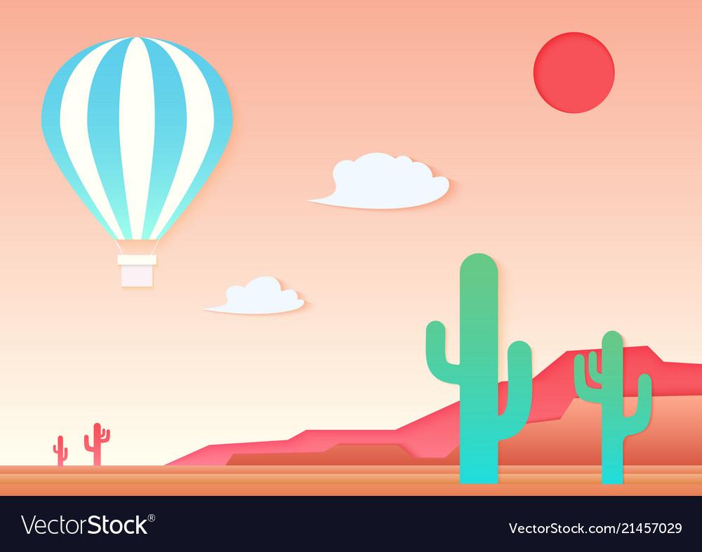 Mesa cactus and air hot ballon in the