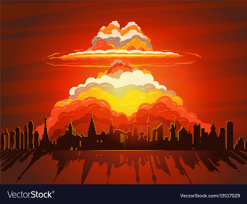 Nuclear explosion atom bomb falling on earth