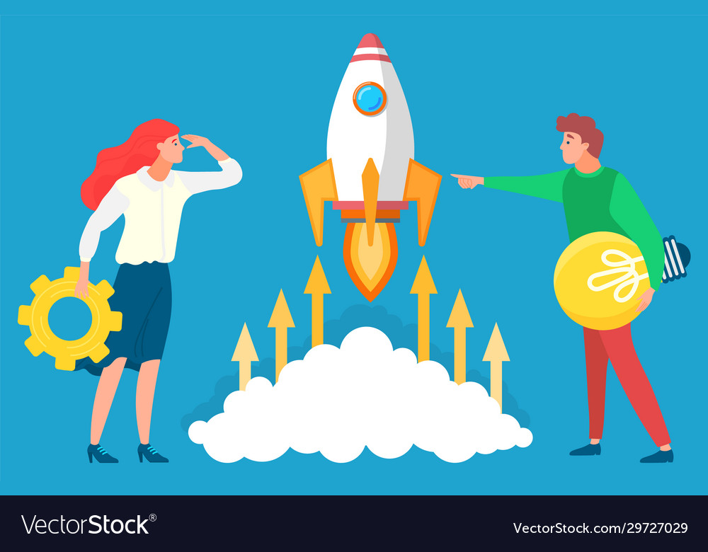 People with business tools and ideas near rocket