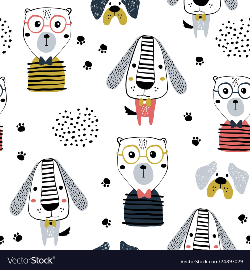 Seamless pattern with funny dogs bear and hand