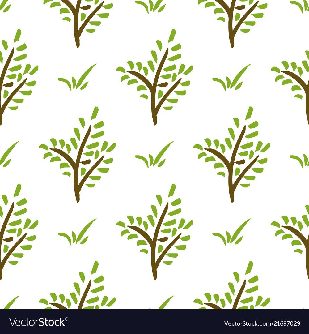 Seamless plant pattern hand drawn green branch