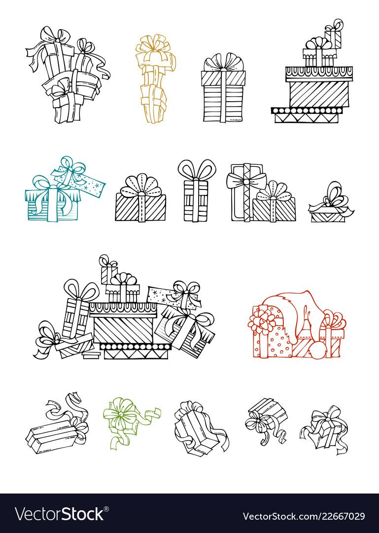Set of doodles festive gifts