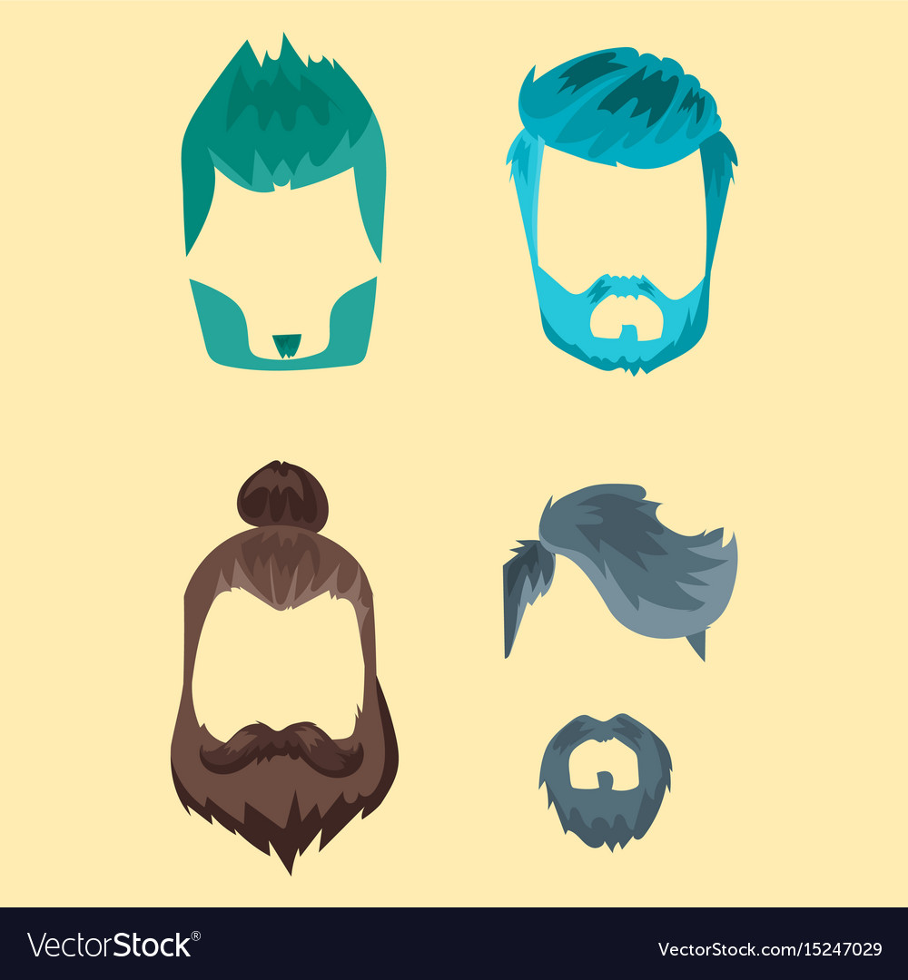 Set of hipster retro hair style mustache