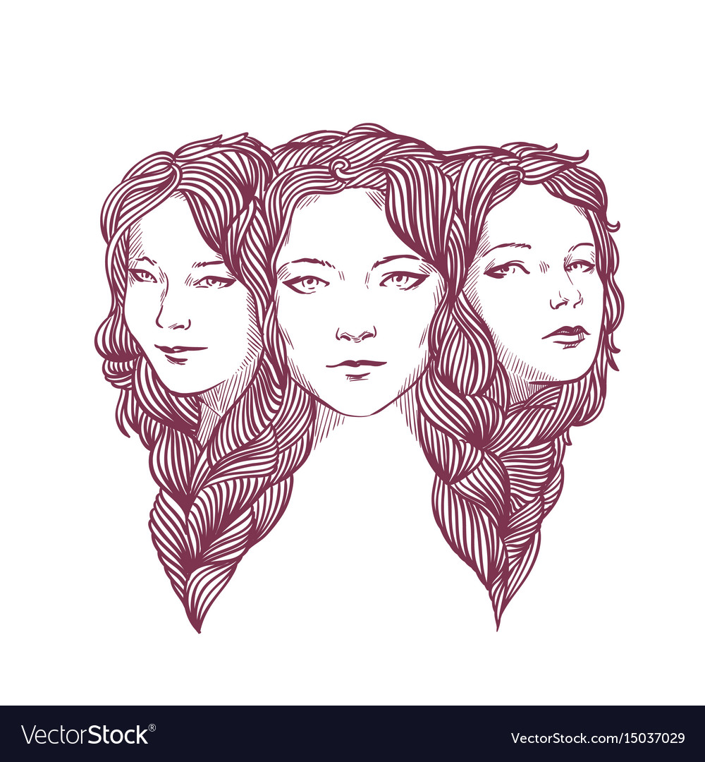 Triple portrait of beautiful young girls woven