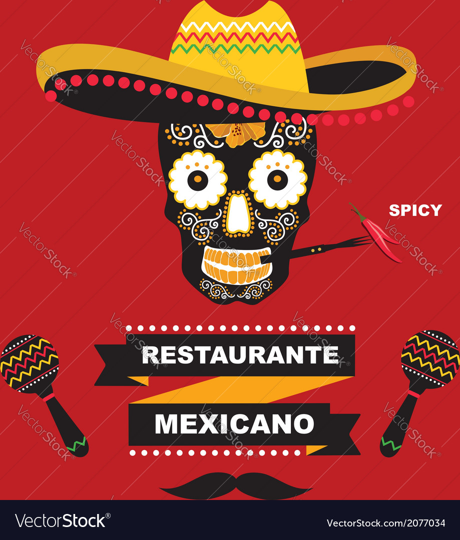cafe cover for menu mexican template design vector image