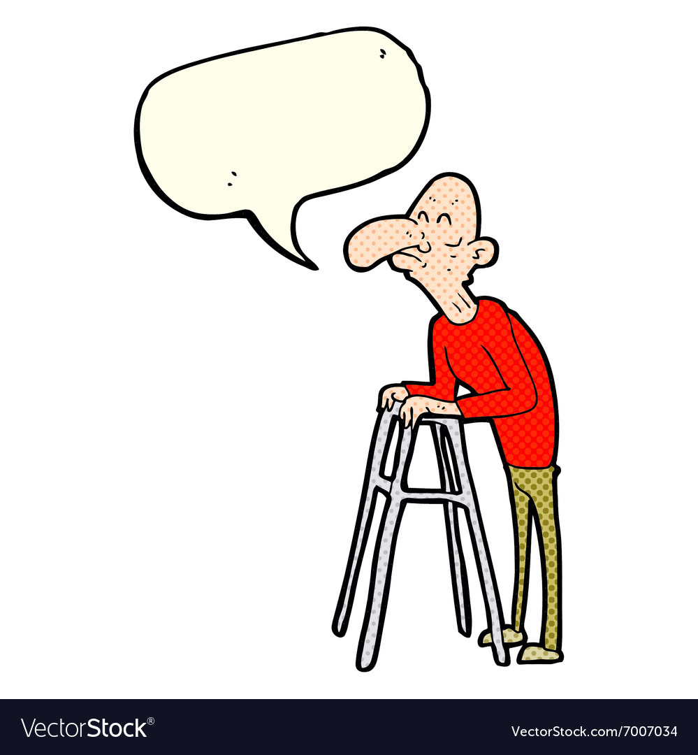 Cartoon old man with walking frame with speech vector image