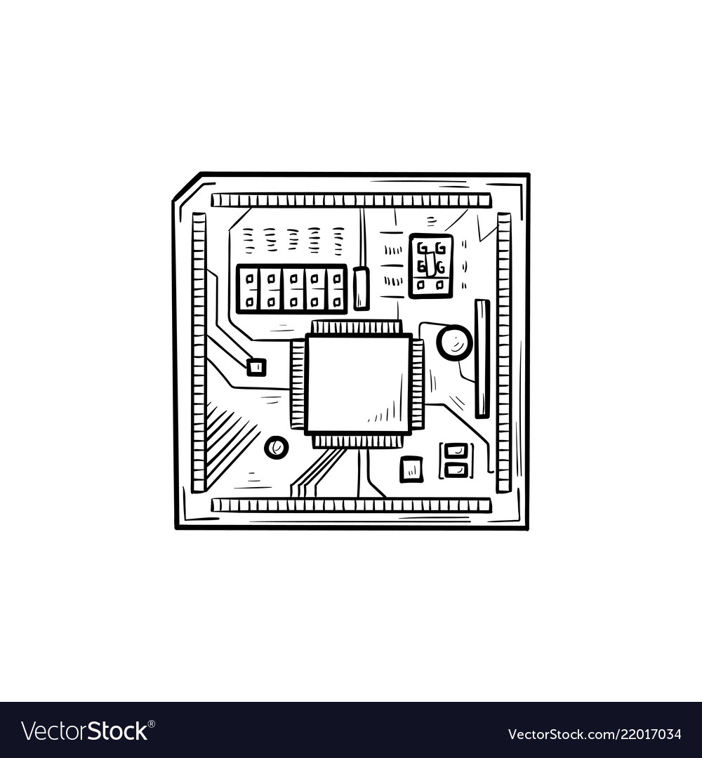 Circuit Board Hand Drawn Outline Doodle Icon Vector Image How To Design Boards