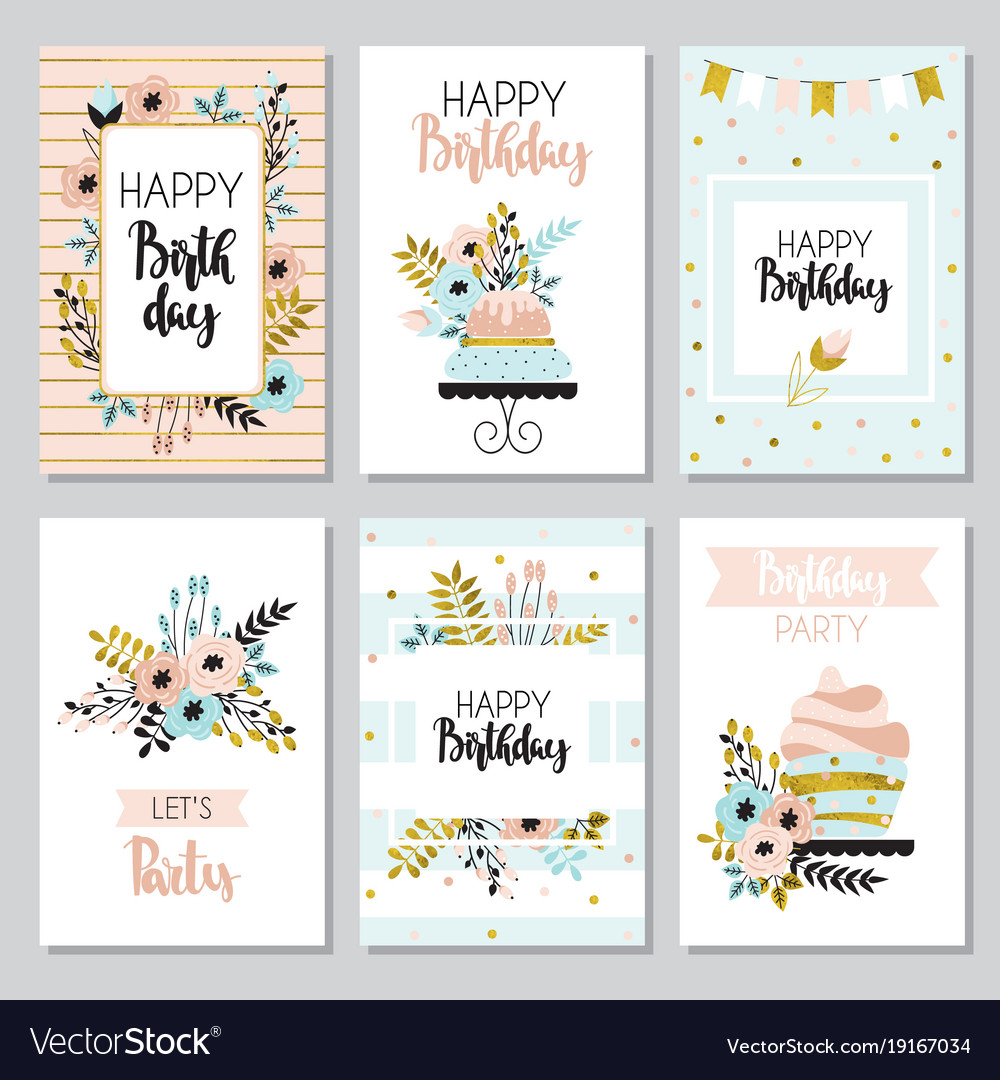 Collection Of Funny Greeting Cards Royalty Free Vector Image