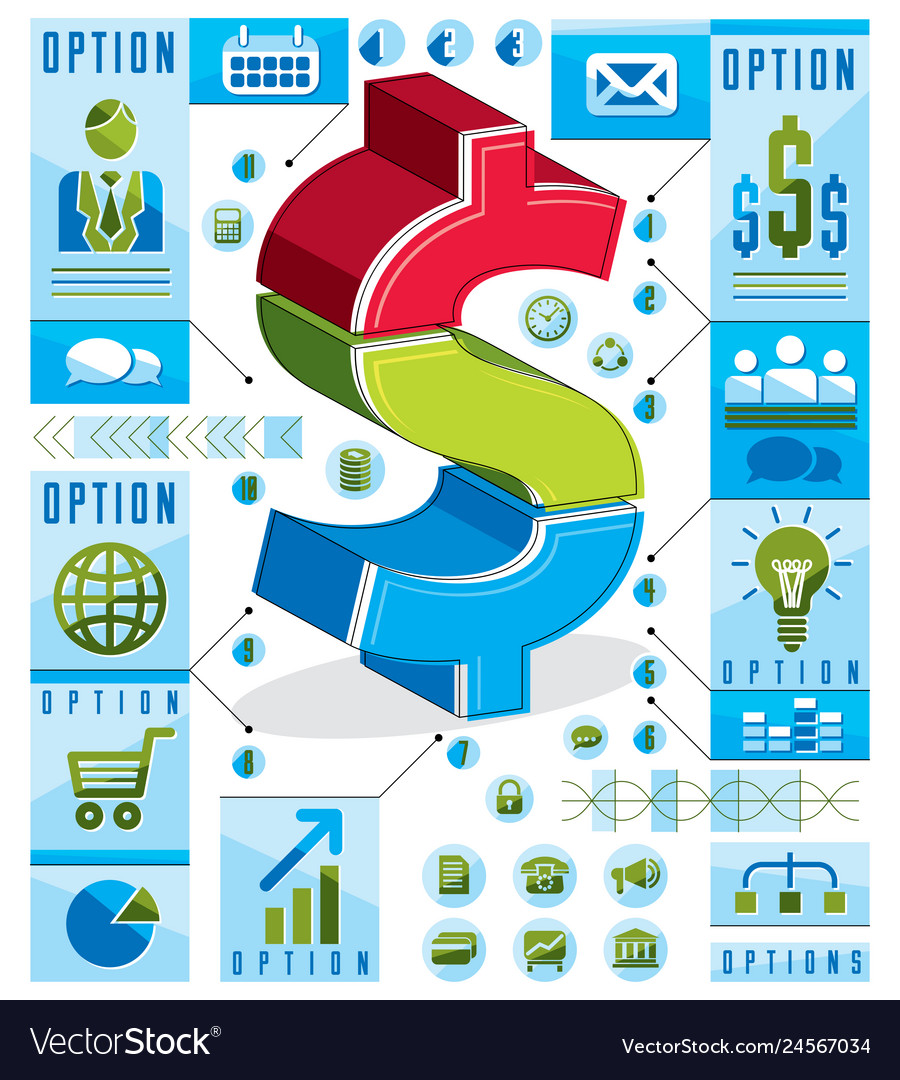 Creative infographics concept layered dollar sign