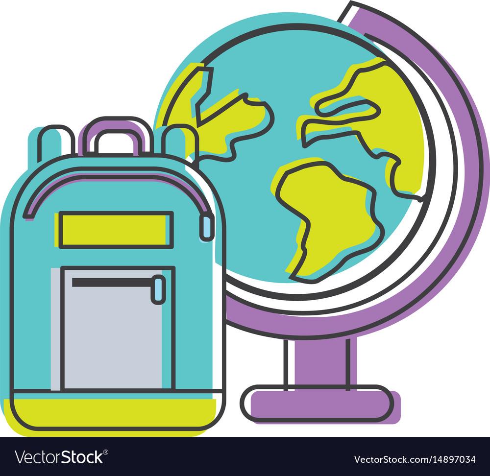 Earth plenet desk with study bag vector image