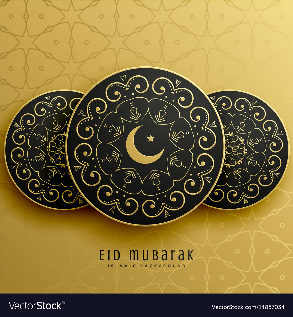 Eid mubarak greeting card design in islamic Vector Image
