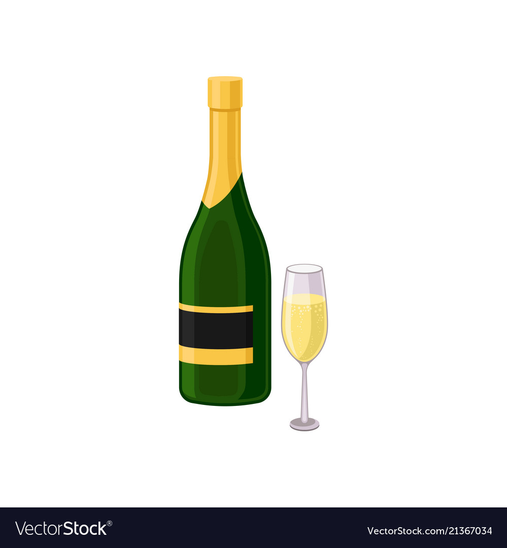 Flat icon of glass and bottle of champagne