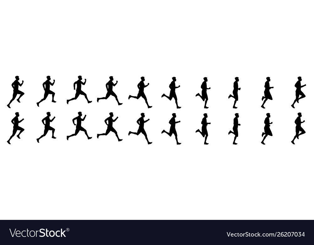 Man run cycle animation sequence silhouette