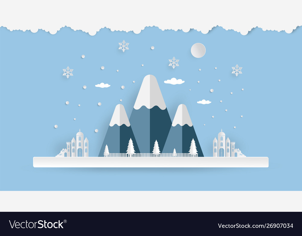 Merry christmas and happy new year mountain