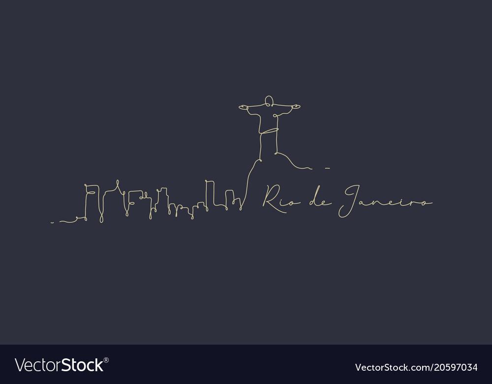 Pen line silhouette rio de janeiro dark blue