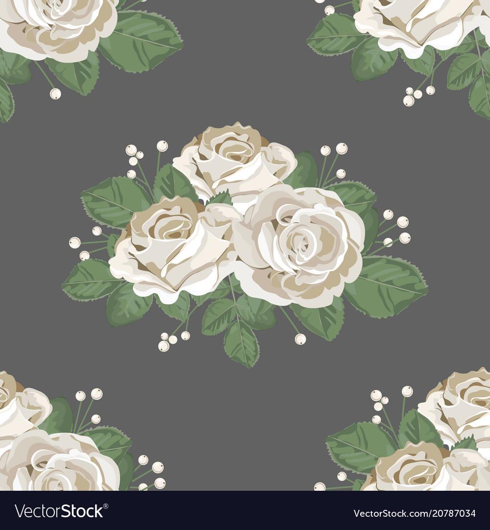 Retro floral seamless pattern white roses on dark