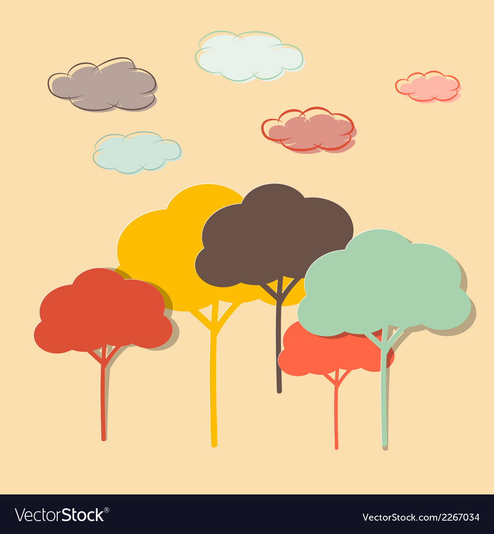 Retro Paper Colorful Trees and Clouds vector image
