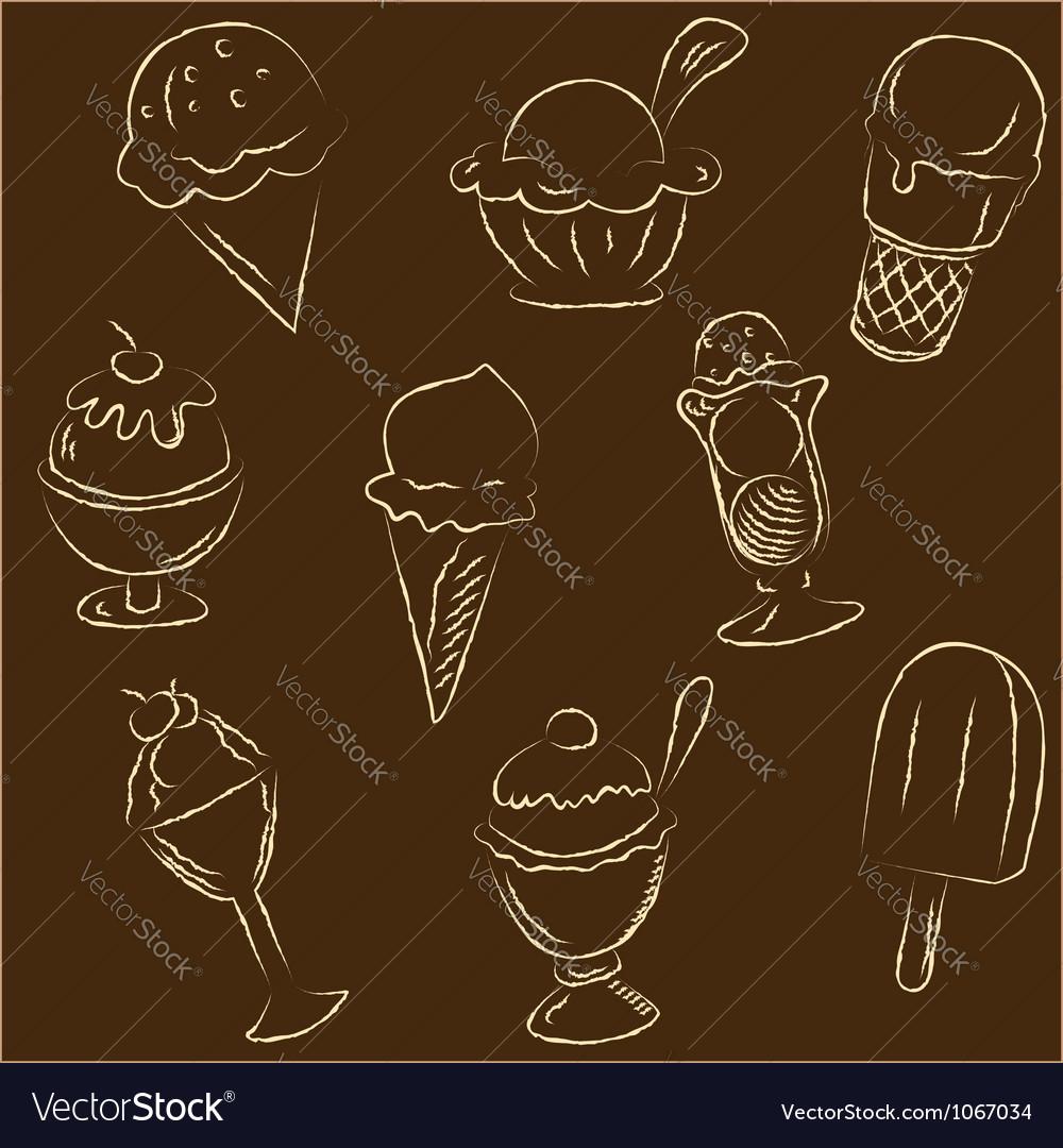 Set of ice creams sketches vector image