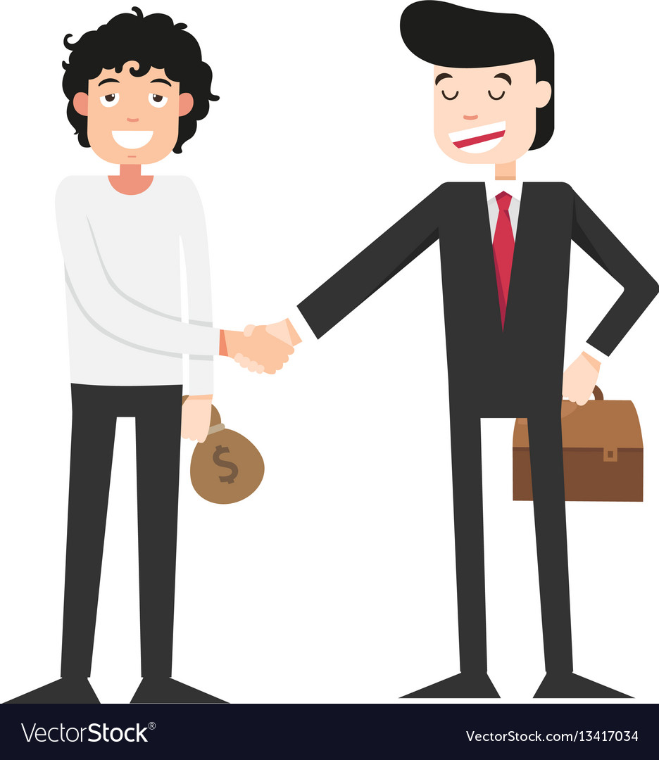 Shaking hands with businessman