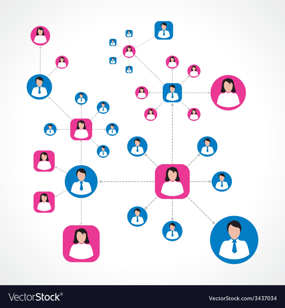 Social network concept with male and female icons