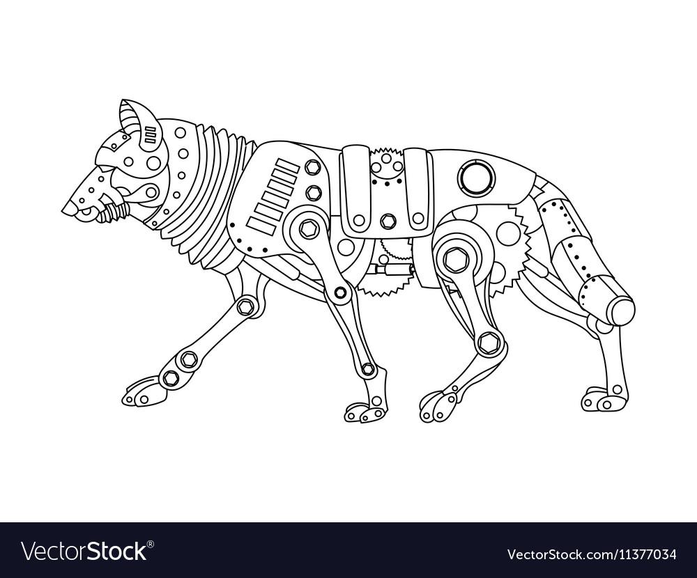 - Steampunk Style Wolf Coloring Book Royalty Free Vector Image