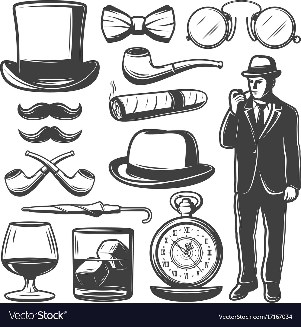 f95b7ba26d69f0 Vintage gentleman elements set Royalty Free Vector Image